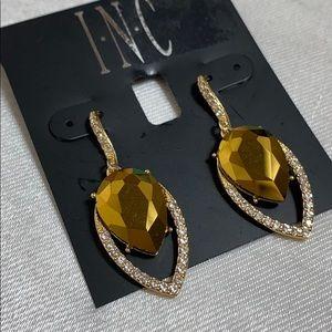 New INC gold tone single drop earrings